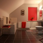 Red Room Full Bathroom with walk in shower
